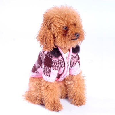 Lux Checker Dog Sweater Coat - Pink