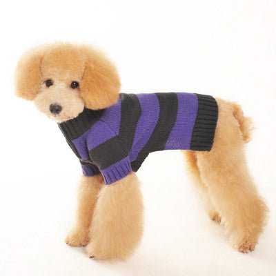 Sporty Stripe Turtleneck Dog Sweater - Purple