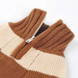 Sporty Stripe Turtleneck Dog Sweater - Beige