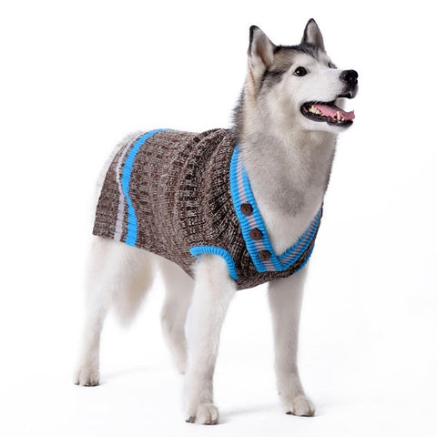 City V-Neck Dog Sweater - Blue