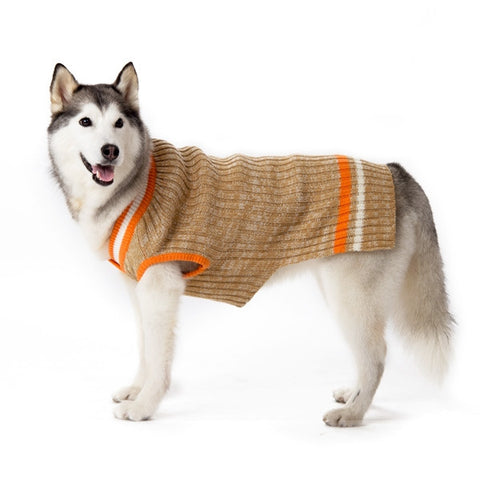 City V-Neck Dog Sweater - Beige