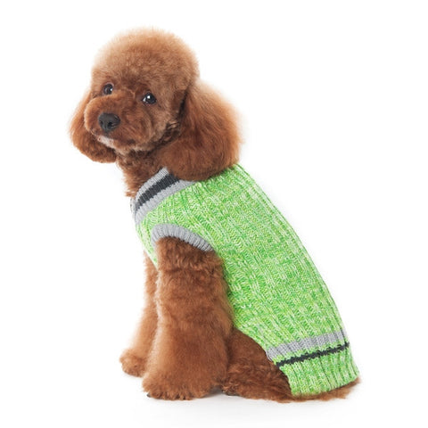 City V-Neck Dog Sweater - Green