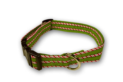Elmo's Closet Candy Cane Stripe Dog Collar