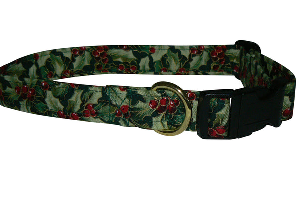 Elmo's Closet Gilded Holly Berries Dog Collar