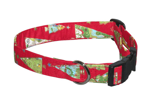 Elmo's Closet Paisley Christmas Trees Dog Collar