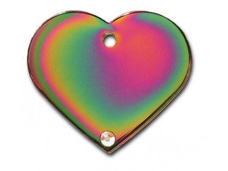 Rainbow Heart Dog Tag With Aurora Stone - Brass (Large) w/Double Side Engraving