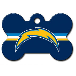 San Diego Chargers NFL Custom Engraved Dog ID Tag - Bone