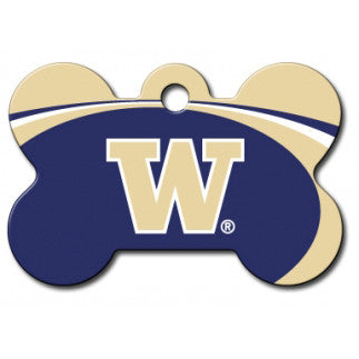 Washington Huskies NCAA Custom Engraved Dog ID Tag - Bone