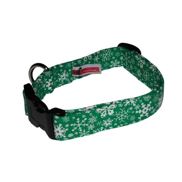 Elmo's Closet Snowstorm Dog Collar - Green