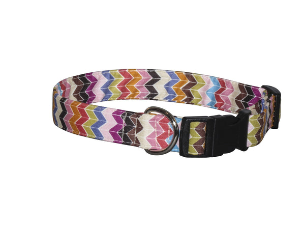 Elmo's Closet Muted Chevron Dog Collar