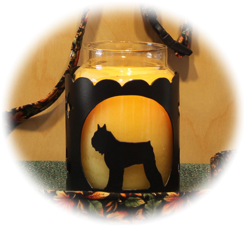 Bouvier Des Flanders Dog Breed Jar Candle Holder