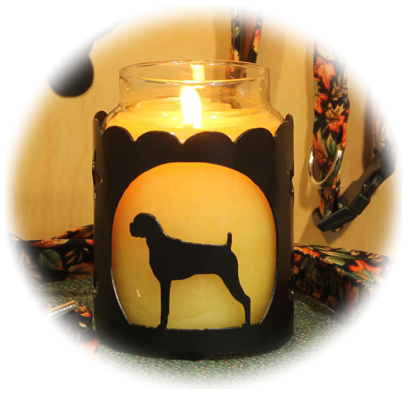Boxer Uncropped Dog Breed Jar Candle Holder