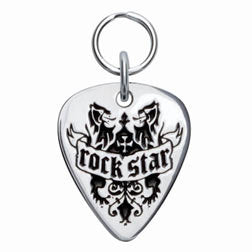 Rockin' Doggie Rock Star Sterling Silver Guitar Pick Dog Tag