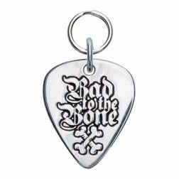 Rockin' Doggie Bad To The Bone Sterling Silver Guitar Pick Dog Tag