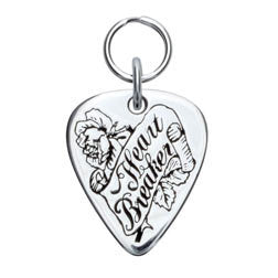 Rockin' Doggie Heart Breaker Sterling Silver Guitar Pick Dog Tag