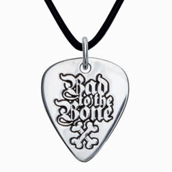 Bad to the Bone Sterling Silver Guitar Pick Pendant