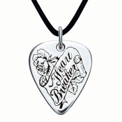 Heart Breaker Sterling Silver Guitar Pick Pendant