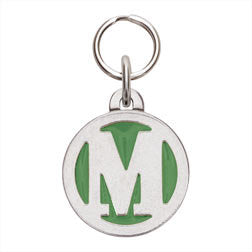 Rockin' Doggie Color Initial Dog Tag - Letter M