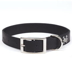 Rockin' Doggie Leather Dog Collar - Black