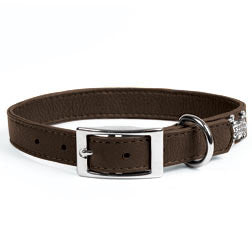 Rockin' Doggie Leather Dog Collar - Brown