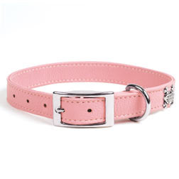 Rockin' Doggie Leather Dog Collar - Pink