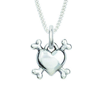 Sterling Silver Necklace - Heart With Dog Bones