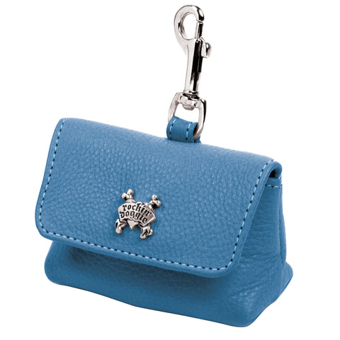 Leather Dog Waste Bag Holder - Blue