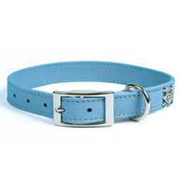 Rockin' Doggie Leather Dog Collar - Blue