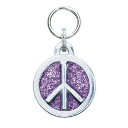 Rockin' Doggie Glitter Circle & Peace Sign Dog Tag