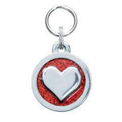 Rockin' Doggie Glitter Circle & Red Heart Dog Tag