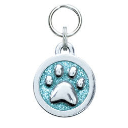 Rockin' Doggie Glitter Circle & Paw Print Dog Tag