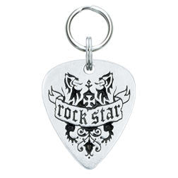 Rockin' Doggie Rock Star Pewter Guitar Pick Dog Tag