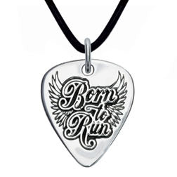 Born to Run Sterling Silver Guitar Pick Pendant