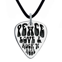 Peace, Love & Rock 'n Roll Sterling Silver Guitar Pick Pendant
