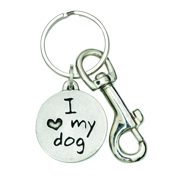 Dog Keychain - I Love My Dog Pewter Paw Print (Red)