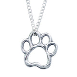 Sterling Silver Necklace - Cut Out Paw Print