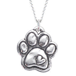 Rockin Doggie Sterling Silver Necklace - Paw with Heart