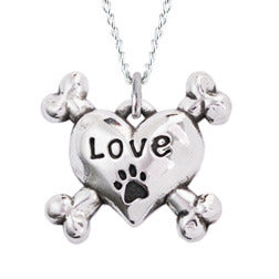 Rockin Doggie Sterling Silver Necklace - Love Heart w/Cross Bones