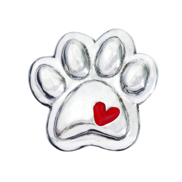 Pewter Paw Dog Magnet - With Red Heart