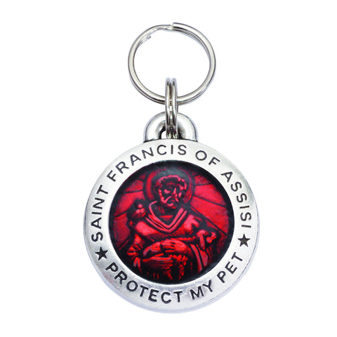 Rockin' Doggie St. Francis of Assisi Dog Tag - Ruby Red