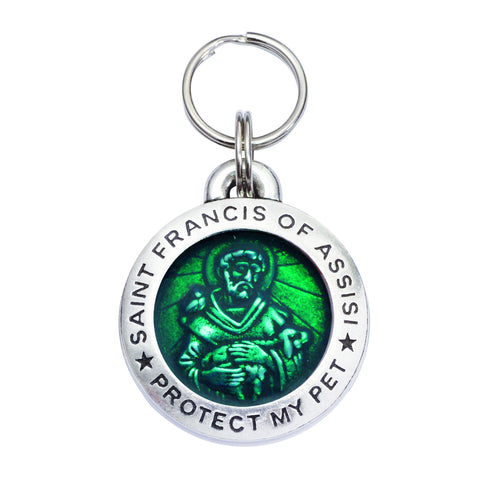 Rockin' Doggie St. Francis of Assisi Dog Tag - Emerald