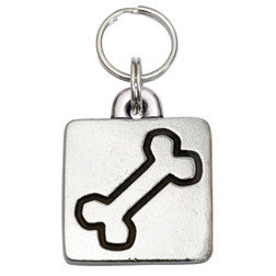 Rockin' Doggie Rounded Square Dog Tag - Dog Bone