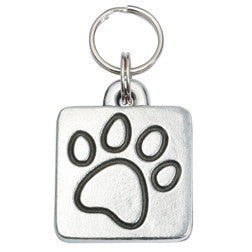 Rockin' Doggie Rounded Square Dog Tag - Paw Print