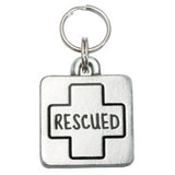 Rockin' Doggie Rounded Square Dog Tag - Rescued
