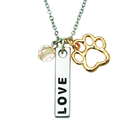Two Tone Paw Charm Necklace - Love Bar w/Pink Crystal Bead