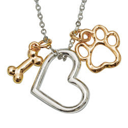 Heart with Bone & Paw Gold Plated Paw Necklace
