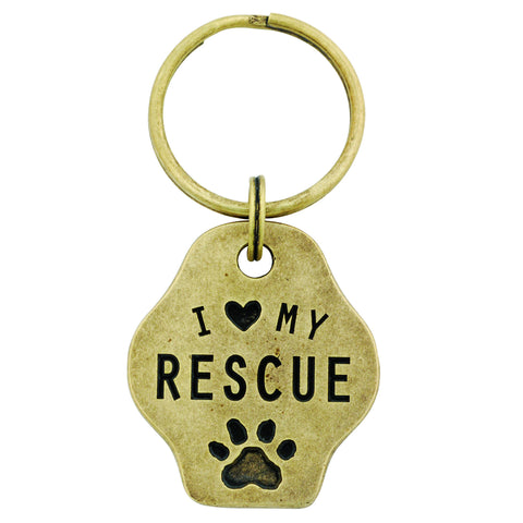Paw Print Keychain - I Love My Rescue