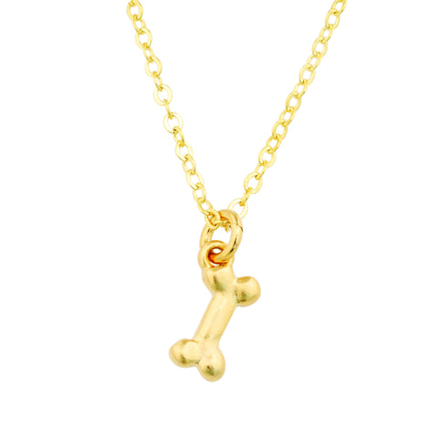 Gold Necklace - Small Dog Bone