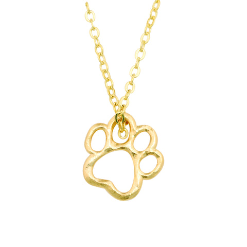 Gold Necklace - Cut-Out Dog Paw Print