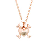 Rose Gold Necklace - Heart Crossbones